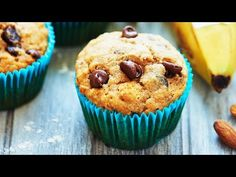 These Vegan Banana Chocolate Chip Muffins are healthy & use natural ingredients like agave, bananas, whole wheat pastry flour, coconut oil & almond milk!