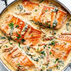 Creamy Garlic Butter Tuscan Salmon (OR TROUT) is such an incredible recipe! Restaurant quality salmon in a beautiful creamy Tuscan sauce! - Creamy Garlic Butter Tuscan Salmon