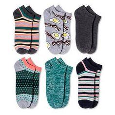 Women's Low-Cut Socks 6-Pack Bacon & Eggs Gray One Size - Xhilaration™ : Target