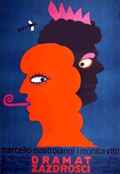 Vintage movie poster 1973 by Jerzy Flisak: Dramat zazdrosci
