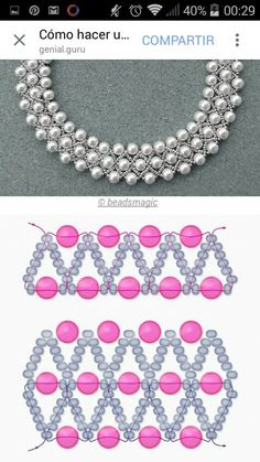 Best 12 Free pattern for beaded necklace using seed beads and pearls. DIY bead jewellery making – Page 625859679446730212 Beaded Necklace Patterns, Beaded Jewelry Designs, Handmade Beaded Jewelry, Seed Bead Jewelry, Bead Jewellery, Jewelry Making Beads, Beaded Bracelets, Seed Beads, Jewelry Necklaces