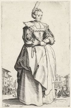 Dame met mutsje en bloem, van voren gezien, Jacques Callot, 1620 - 1623