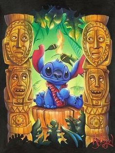 Loving this Lilo & Stitch Tiki Trouble Limited Edition Gallery-Wrapped Canvas on Disney Collage, Disney Artwork, Disney Paintings, Lilo Stitch, Stitch Disney, Stitch Kit, Toile Disney, Disney Canvas, Decoupage