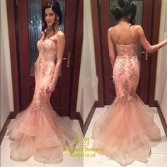 vampal.co.uk Offers High Quality Pink Strapless Lace Embellished Tulle Mermaid Long Prom Dress,Priced At Only USD $200.00 (Free Shipping)