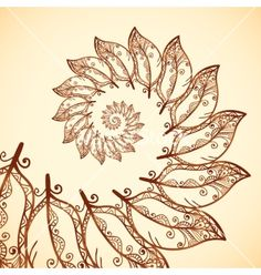 Feathers spiral in henna tattoo style vector