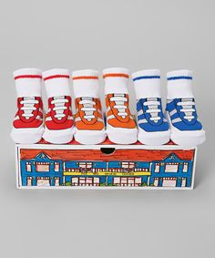 Look at this Dimples Red & Blue Sneaker Three-Pair Socks Set on #zulily today!