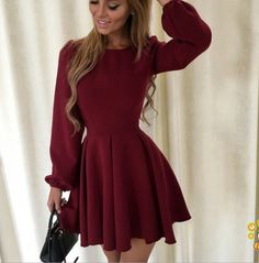 Women's Solid Color Fashion Sexy Round Neck Princess Dress Material Polyester Gender Women Item TypeDress Sleeve Length Long Sleeve Color Wine Red, Black Size S, M, L, XL Casual Party Dresses, Hoco Dresses, Pretty Dresses, Women's Dresses, Dresses With Sleeves, Formal Dresses, Dress Casual, Elegant Dresses, Dresses Online