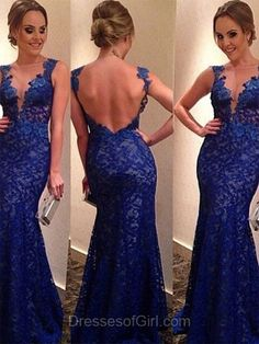 Royal Blue Prom Dress, Long Prom Dresses, Mermaid Evening Dresses, Lace Party Dresses, Open Back Formal Dresses