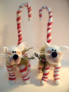 Candycane Kitty Wool Wrapped/Needle Felted Ornament-AFTER CHRISTMAS DELIVERY Only. $27.00, via Etsy.