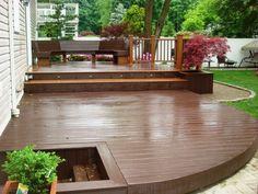 Trex Curved Deck - exactly how I want our deck to look! Easy Deck, Cool Deck, Curved Pergola, Pergola Attached To House, Pergola Plans, Pergola Kits, Pergola Ideas, Backyard Ideas, Pergola Designs