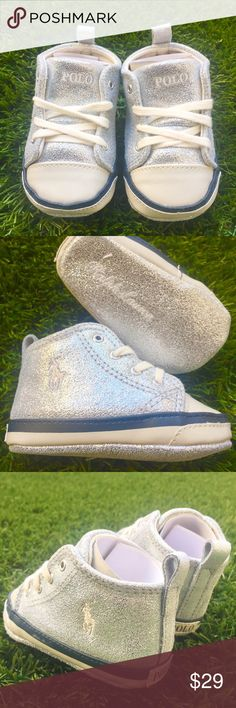 ✨BNWT✨Ralph Lauren BABY Hi tops Classic meets Contemporary with these eye catching RALPH LAUREN baby hi-top sneakers!! MUST HAVE!!❤️ LOVE the sparkle!!✨ Brand new, never worn. Comes with original magnetic closure box. Ralph Lauren Shoes