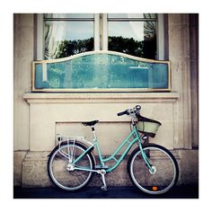 mint green paris bicycle photograph  whimsical by oohprettyshiny,