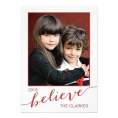 Believe Holiday Photo Cards | Red and White  Click on photo to purchase. Check out all current coupon offers and save! http://www.zazzle.com/coupons?rf=238785193994622463&tc=pin #cards #holidays #christmas  #christmascards #photos #photocards #believe #greetings #holidaycards  #xmas #xmascards #greetingcards #personalized #customized #modern
