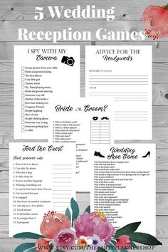 5 Wedding Reception Games, Printable Wedding Reception Game, Fun Wedding Game, Creative Wedding Activities  ► WHATS INCLUDED Advice for the Newlyweds Bride or groom Find the Guest I spy with my camera Wedding shoe game  ► FORMAT The games comes in a PDF file in a ZIP.  ► SIZE: A4 ( 21.0 cm x 29.7 cm / 8.3 in x 11.7 in ) Letter Size (21.6 cm x 27.9 cm / 8.5 in x 11.0 in)  If you have any questions, please don't hesitate to contact me. --------------------------------------------  ► T...