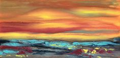 Holiday Sale,Contemporary Landscape Art ,Abstract Sunset Painting Blazing Sky Reflected IX by Colorado Contemporary Landscape Artist Kimberly Conrad