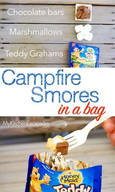 Simple Dinner Ideas and Easy Dessert Recipes Menus] Make smores in a bag next time you need a campfire treat! They don't make a huge mess all over your hands when you eat them! So yummy Easy Desserts, Dessert Recipes, Breakfast Recipes, Small Desserts, Dessert Dishes, Dessert Bars, Dessert Ideas, Dinner Recipes, Camping Dishes
