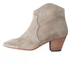 Isabel Marant Dicker Boot (393 CAD) ❤ liked on Polyvore featuring shoes, boots, ankle booties, botas, ankle boots, booties, gray boots, gray ankle boots, short boots and leather bootie