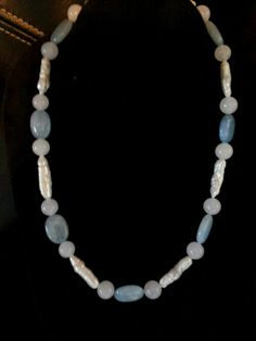 Aquamarine, Moonstone and Freshwater Pearl Necklace.