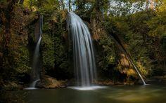 Download wallpapers Forest, waterfall, lake, rock, autumn, beautiful waterfall