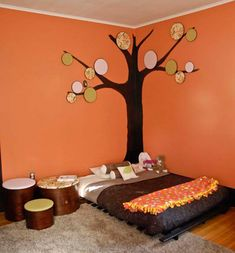 Montessori bedrooms--- I really just liked the idea of the child's bed being on the floor level like that....