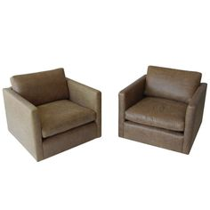 USA Charles Pfister for Knoll. Leather lounge chairs (set of 2). 1970s. h28w34d33