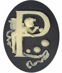 "Item#152x Acrylic 40x30 black/ivory letter ""P"" cameo"