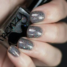 Frenzy Polish - Winchester (Steel grey holo with multi-colored holo glitters and red glitter)