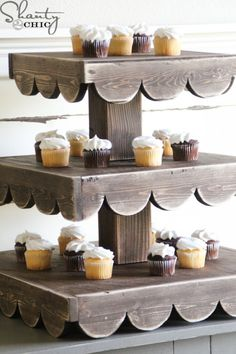 This DIY cupcake stand makes a great display for your holiday baked goods, and can be easily updated to stay stylish all year round.