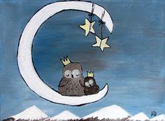 Kids Wall Art Children Decor Baby Artwork Nursery Owl by andralynn