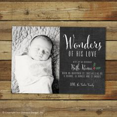 Items similar to Christmas birth announcement, Wonders of His Love, chalkboard style Christmas card and baby announcement, Christmas Baby Announcement on Etsy Christmas Baby Announcement, Newborn Announcement, Announcement Cards, Birth Announcements, Newborn Pictures, Baby Photos, 21st Birth, Newborn Christmas, Christmas Photo Cards