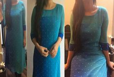 Zuleiha Salwar Pattern, Kurti Patterns, Dress Patterns, Indian Attire, Indian Wear, Indian Dresses, Indian Outfits, Trendy Kurti, Kurti Styles