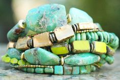 Laguna Bracelet Amazing Green Amazonite, Green Turquoise, Chartreuse Czech Glass, Teal Glass Tiles and Thai Gold Multi-Strand Bracelet - Jewelry with soul - By Kelly Conedera XOGallery.com