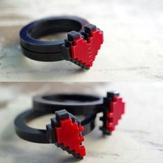Heart Acrylic Ring for couple by Nastalgame (Or, ya know, for one of my girlfriends and I.)Pixel Heart Acrylic Ring for couple by Nastalgame (Or, ya know, for one of my girlfriends and I. Couple Jewelry, Couple Rings, Rings For Couples, Accesorios Casual, Things To Buy, Stuff To Buy, Ring Verlobung, Jewelry Accessories, Geek Jewelry
