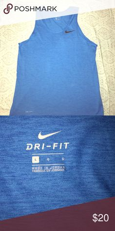 Men's Nike dri-fit training tank. Only worn once! Size large. Color is a heather blue. Lightweight and great for running or going to the gym. Looks great, just too big for me. Nike Shirts Tank Tops