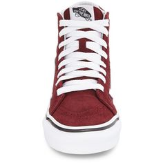 Women's Vans Sk8-Hi Slim High Top Sneaker ($65) ❤ liked on Polyvore featuring shoes, sneakers, suede high tops, vans footwear, slim shoes, suede leather shoes and high top sneakers