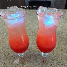 Tipsy Bartender- grenadine, strawberry liqueur, rum, peach schnapps, triple sec, pineapple orange juice, sprite