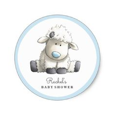 Baby Lamb Blue Baby Shower Sticker - baby shower gifts  party giftidea