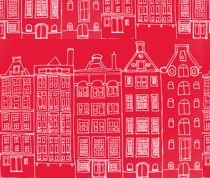 Red Dutch houses fabric