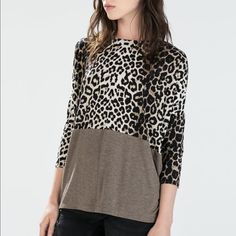 Zara animal print top Super comfy and silky Zara Tops Blouses