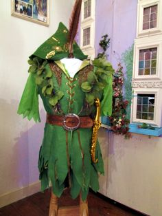 The silk Peter Pan costume I made.