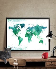 World map print watercolor map art large world map poster fine world map print watercolor map art large world map poster fine art prints home wall decor watercolor map fine art prints and watercolor gumiabroncs Gallery