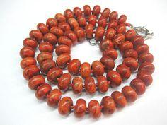 Natural Coral Necklace Sponge coral Terracotta  red by SanaGem, $36.50