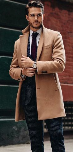 Dark suit and camel wool coat