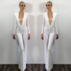 Stunning one piece jump suit with low plunge and open back. - For best fit, scroll down to see the Michael Costello Size Chart - When choosing height, include the inches of your heels Unique Outfits, Classy Outfits, Modest Fashion, Fashion Outfits, Fashion Trends, Dressy Jumpsuit Wedding, Fiesta Outfit, All White Outfit, Couture Collection