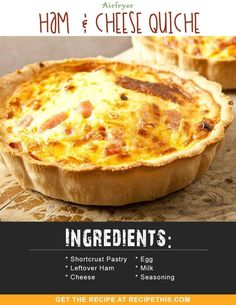 Airfryer Recipes | Airfryer Ham & Cheese Quiche recipe from RecipeThis.com