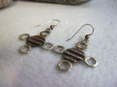 Large Earrings Oxidized Earrings Copper Earrings by bmstudiosilver