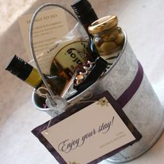 Importance of the welcome bag or gift basket for out-of-town guests...LOVE IT TOTALLY ME x