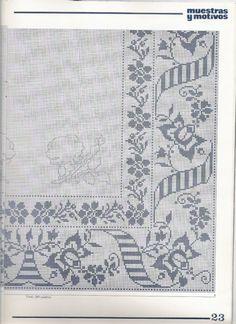 Filet Crochet Charts, Crochet Cross, Crochet Motif, Crochet Doilies, Crochet Patterns, Cross Stitch Designs, Cross Stitch Patterns, Embroidery Stitches, Embroidery Patterns