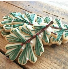 Christmas iced pine cookies