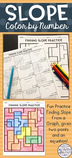 Finding Slope from a Graph, given two points and an equation Coloring Activity Algebra Activities, High School Activities, Algebra Worksheets, Color Activities, Teaching Math, Math Teacher, Math Resources, Algebra 1, Teaching Ideas
